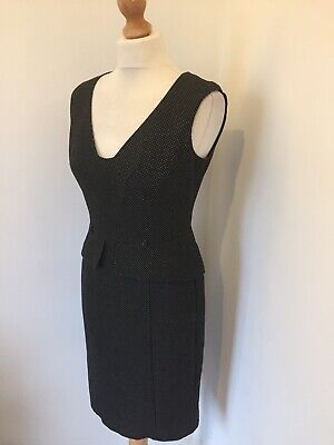 Next Dress UK 10 Black White Polka Dot Peplum Work Office Party Sleeveless