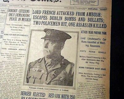 LORD JOHN FRENCH Irish War of Independence Assassination Attempt 1919 Newspaper