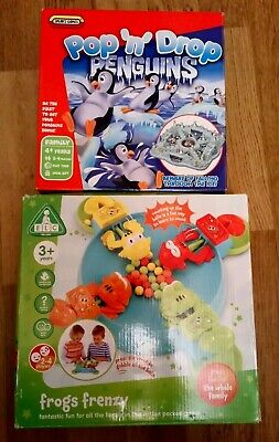 2 Board Games Pop N Drop Penguins & Frogs Frenzy Both Complete Nice Condition
