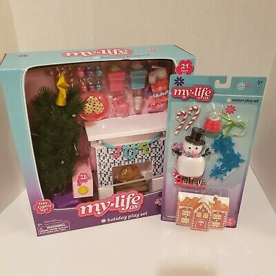 My Life As Holiday Decorations And Winter Play Set Christmas Tree Lights Up NIB