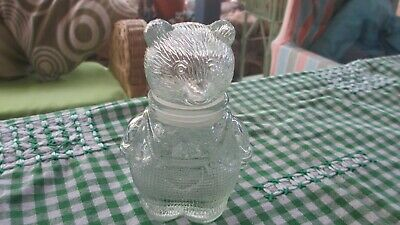 Vintage Teddy Bear  Glass Jar in overalls