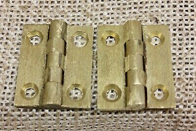 "2 OLD Cabinet door hinges Butts vintage TINY brushed brass 1 x 7/8"" jewelry box"