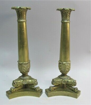 Ornate Pair of 19th C. FRENCH Engraved Brass Paw-Foot Candle Holders  c. 1890