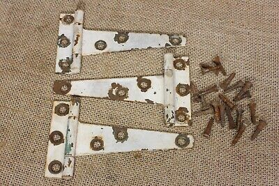 "3 old Tee hinges 3 x 5"" strap barn shed cabinet door rustic tool box vintage"