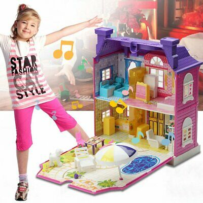Doll House With Furniture Miniature House Dollhouse Assembling Toys For Kids DX