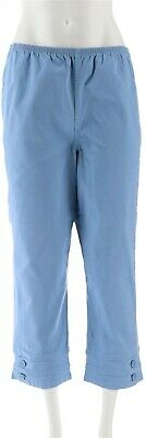 Denim Co Stretch Pull-on Crop Pants Button Fresh Blue M NEW A04911