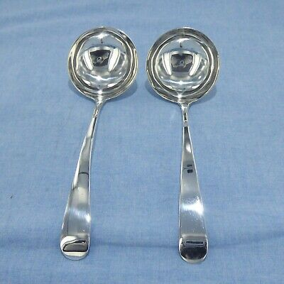 Antique Pair Of Sterling Silver, Old English  Sauce Ladles, Dublin 1803.