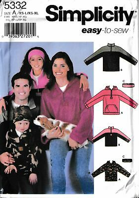 Adult Teens Child Hooded Pullover Fleece Top Headband SIZE XS-XL Sewing Pattern