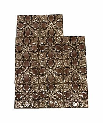 Antique 3 x 3 Pink Floral Accent Tile Set