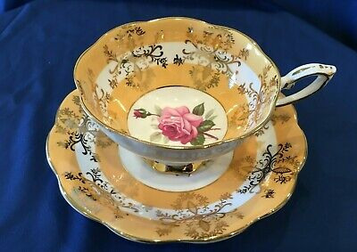 Royal Standard Cup Saucer Yellow, Gold, Pink Rose