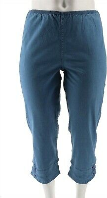 Denim /& Co Stretch Pull-on Straight Leg Crop Pants Button White L NEW A04911