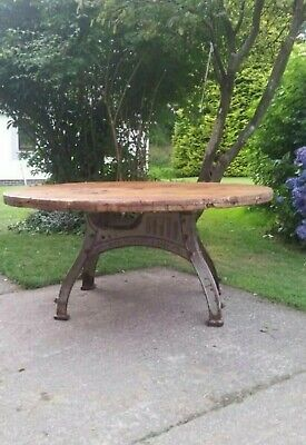 Cast iron Henry Bamford Base & Wooden Cable Reel Top