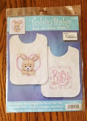 Tobin Baby Set of Two Stamped Cross Stitch Bibs Kit