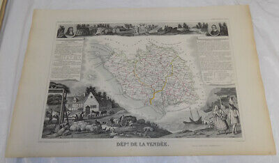 1856 Map/FRANCE, DEPT. DE LA VENDEE/Political Division/Outstanding Graphics