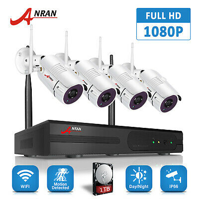 ANRAN 8CH 1080P Wireless Security Camera System HD 2MP WIFI NVR CCTV Outdoor 1TB