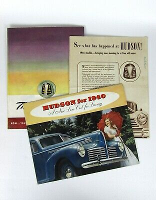 Three 1940's Hudson Car Advertising Flyers
