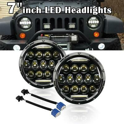 Pair 7''inch 200W Round LED Headlights DRL Hi/Low For Jeep Wrangler TJ JK 97-17