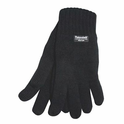 Mens 3M THERMAL THINSULATE FULL FINGER GLOVES Knitted Wooly Black UK NEW