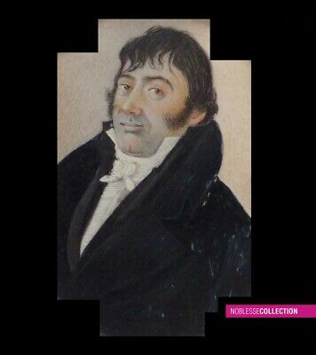 ANTIQUE 1830s FRENCH OVAL MINIATURE PAINTING WATERCOLOR Portrait of a man