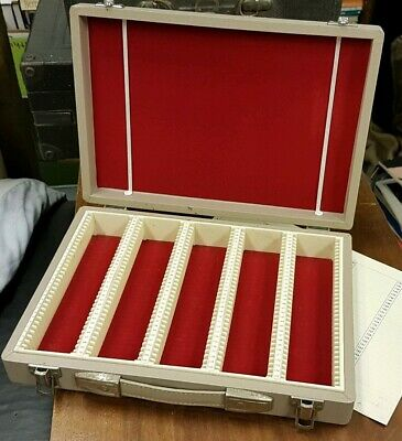 """Vintage Photax 2""""x2"""" Slide Case. Holds 175 35mm slides.Sturdy, with carry handle"""