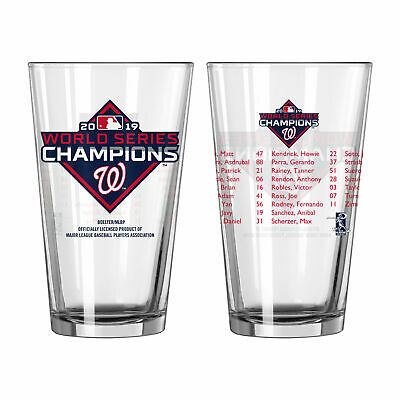 Washington Nationals 2019 World Series CHAMPS Champions Roster Pint Beer Glass
