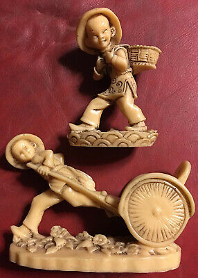 2 Vintage Ornaments Chinese Boy Pulling Rickshaw Cart & Chinese Coolie Resin