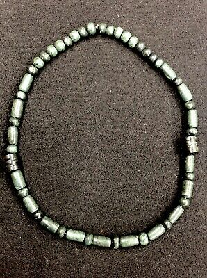 "Nice Pre-Columbian Mayan Jade Stone Bead Necklace 26"" Long"