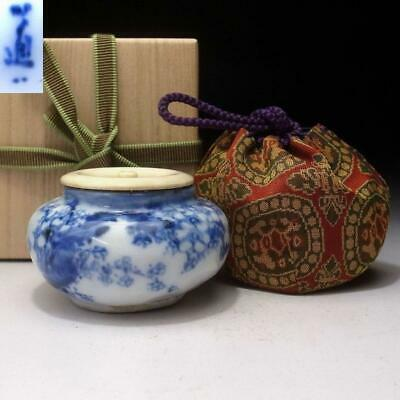 YH18: Japanese Hand-painted Tea Caddy, Kyo Ware, Great potter, Dohachi Takahashi