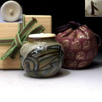 YH12: Vintage Japanese Pottery Tea Caddy with High-class lid, Koza ware, FISH