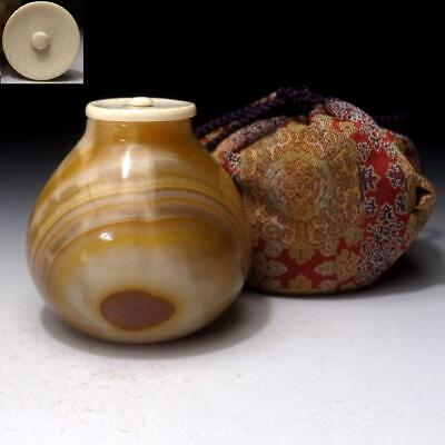 YH11: Vintage Japanese Natural Stone Tea Caddy with Hight-class lid