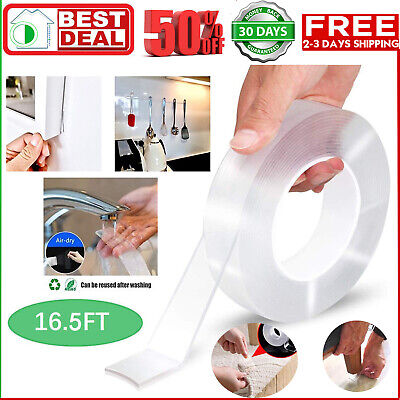 16.5ft Nano Magic Tape Double-Sided Traceless Washable Invisible Gel 3CM*2MM*5M