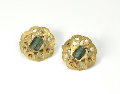Ancient Roman Pair of Gold and Glass Earrings  - 3rd Century BC
