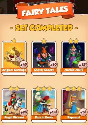 Coin master cards, Fairy tales set, this all 6 cards for $2.55,fast delivery