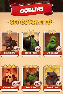 Coin master cards,Goblins set, this all 6 cards for $2.55,fast delivery