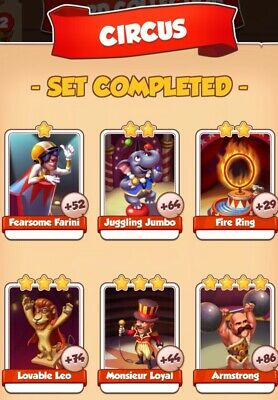Coin master cards, Circus set , this all 6 cards for $2.55,fast delivery