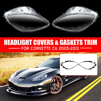 Pair For 2005-2013 C6 Corvette Headlight Replacement Lens Cover Gaskets LH + RH