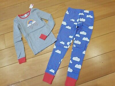 MINI BODEN Girls Pyjamas age 11 years BNWT Grey & Blue Rainbows & clouds