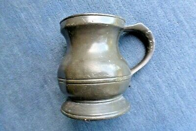 Excellent Victorian (Wr Iv?) Pewter Bulbous Gill Measure Tankard