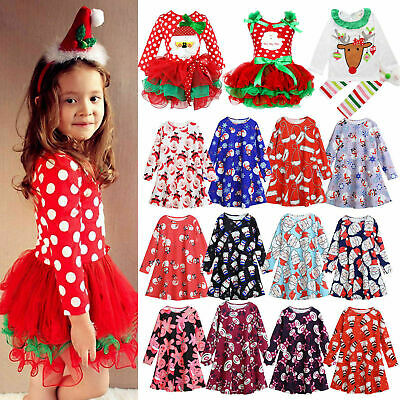 Christmas Baby Kids Girls Xmas Santa Swing Party Dress Clothes Costume Outfits