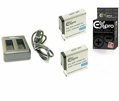 Ex-Pro AHDBT-501 Battery (2 Pack) +2 Channel Charger for GoPro Hero 5 Hero 6 7