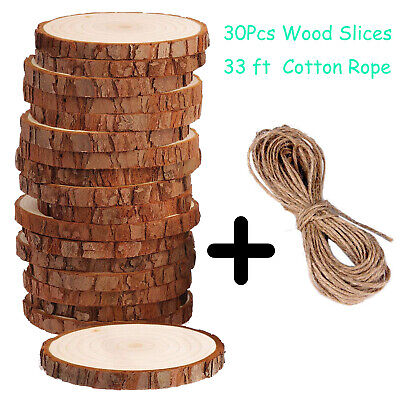 30 Pieces DIY Natural Wood Slices Round Log Dis Christmas Ornaments Decorations