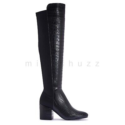 Womens Ladies Croc Up To Knee High Stretchy Zip Riding Low Mid Block Heel Boots