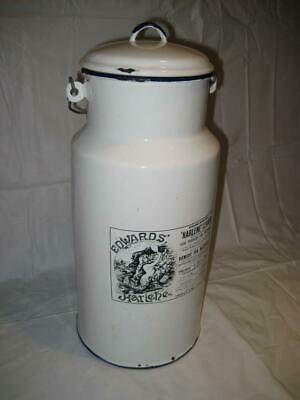 "Rare Vintage HTF 15"" White Enamel ""Edwards' Harlene For Hair"" Canister ~ England"