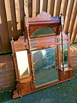 Fabulous Victorian Over Mantle Mirror Wood Antique Ornate Bevelled Glass