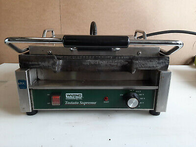 Waring Tostato Supremo Large Smooth Top & Bottom Panini Grill 120V Cast Iron