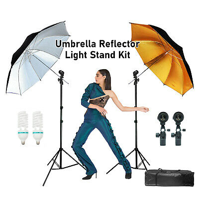 Photo Studio White/Gold Photography Umbrella Reflector and Stand Lighting Kit