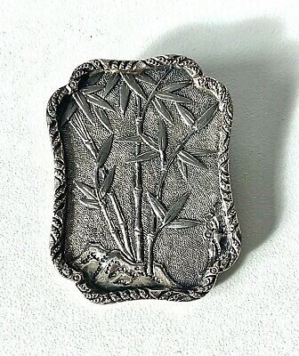 Antique Victorian Silver Oriental Aesthetic Movement Fine Detail Engraved Brooch