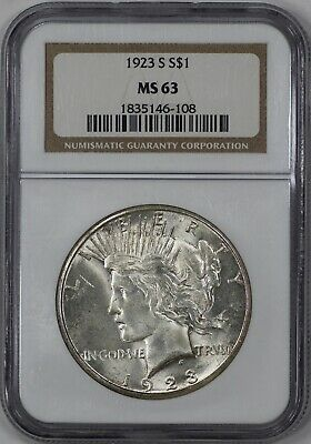 1923 S Peace Silver Dollar $1 Ngc Certified Ms 63 Mint State (108)