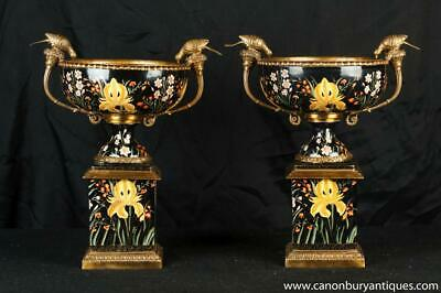 Pair French Porcelain Campana Urns Pedestal Base Bird Bath