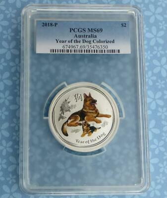 2018 PCGS MS 69 Colorized Year of Dog Australia $2 Coin, 2 Ounces .9999 Silver